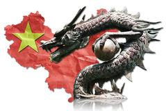 Chinese Dragon Statue On Chinese Flag. Stock Image