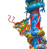 Chinese dragon statue pole Stock Photos