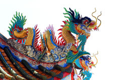 Chinese dragon statue on roof Royalty Free Stock Photo