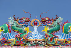 Chinese dragon statue on temple roof. royalty free stock image