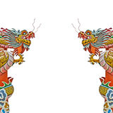 Chinese dragon statue on white background Stock Photo