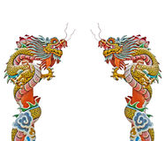 Chinese dragon statue on white background. Royalty Free Stock Images