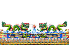 Chinese  dragon statue on white isolated Royalty Free Stock Images