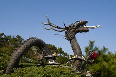 Chinese dragon statue. Year of the dragon. Vief of a chinese dragon statue Royalty Free Stock Image