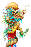 Chinese dragon statues around the pole stock images