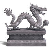 Chinese Dragon Stone Statue Stock Photo