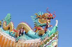 The Chinese dragon on the temple roof. Royalty Free Stock Photography