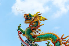 Chinese Dragon on Temple Rooftop Royalty Free Stock Photo