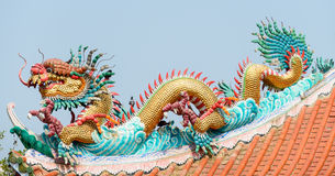 Chinese dragon. On a temple's roof royalty free stock photos