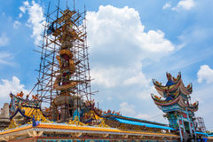 Chinese Dragon in Temple. - Stock Image. Chinese Dragon in Thai Temple - Stock Image Stock Photo