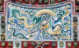 Chinese dragon texture on the wall, Thailand Stock Photos