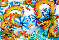 Chinese dragon, thailand. A Chinese dragon on the wall blue cloud stripes, thailand Stock Photography