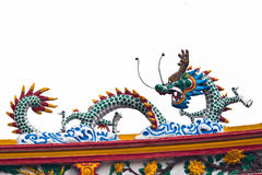 Chinese dragon on top temple roof Royalty Free Stock Image