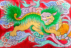 Chinese Dragon. Tradition Chinese painting on wooden box in Chinese temple Stock Photos