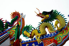 Chinese dragon. Traditional Chinese dragon Colorful chinese style dragon statue  on a temples arched entrance of Chinese shrine Stock Photography