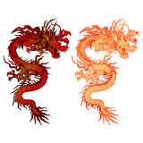 Chinese dragon with two color options. Vector illustration of a red Chinese dragon two color options with lighting. Isolated object can be placed on any of your Royalty Free Stock Photography