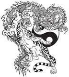 Chinese dragon versus tiger black and white tattoo stock illustration