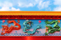 Chinese dragon wall Stock Photography