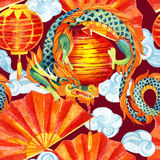 Chinese Dragon watercolor seamless pattern. Traditional asian festival background. Watercolour hand painted illustration Royalty Free Stock Images