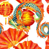 Chinese Dragon watercolor seamless pattern. Traditional new year festival background. Watercolour hand painted illustration in asian style Royalty Free Stock Photo