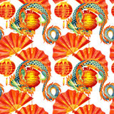 Chinese Dragon watercolor seamless pattern. Stock Photo