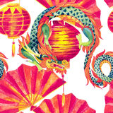 Chinese Dragon watercolor seamless pattern. Traditional new year festival background. Watercolour hand painted illustration in asian style Stock Images