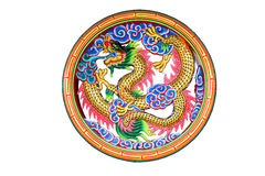 Chinese dragon in window Royalty Free Stock Photography