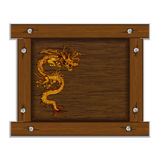 Chinese dragon on the wooden frame Stock Images