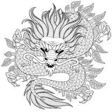 Chinese dragon in zentangle style for tatoo. Adult antistress coloring page. Black and white hand drawn doodle for coloring book. Vector illustration Royalty Free Stock Images