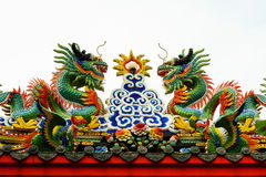 Chinese dragons above the Chinese Shrine. In China Town royalty free stock image