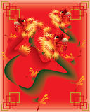 Chinese dragons on color background Royalty Free Stock Images