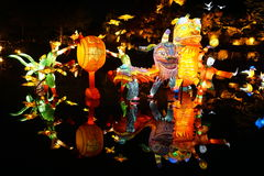 Chinese dragons. In the dark . Montreal botanical garden Royalty Free Stock Photo