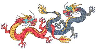 Chinese dragons fighting. Two chinese dragons fighting. Cartoon characters isolated on white background Royalty Free Stock Photo