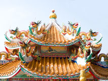 Chinese dragons. Dragons on the roof to protect against fire by controlling the rain and the sea Stock Image