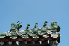 Chinese Dragons on rooftop Royalty Free Stock Photography