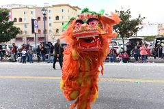 Chinese Dragons, the symbol of Chi energy and good fortune, at the Golden Dragon Parade, celebrating the Chinese New Year stock photo