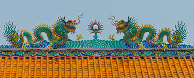 Chinese dragons on a temple. With blue sky Royalty Free Stock Photos