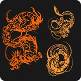 Chinese Dragons - vector set. Stock Photo