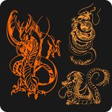 Chinese Dragons - vector set. Royalty Free Stock Images