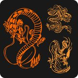Chinese Dragons - vector set. Royalty Free Stock Photos