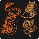 Chinese Dragons - vector set. Royalty Free Stock Photography