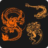 Chinese Dragons - vector set. Royalty Free Stock Image