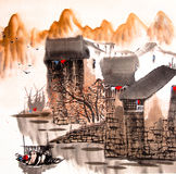Chinese drawing water town Stock Image
