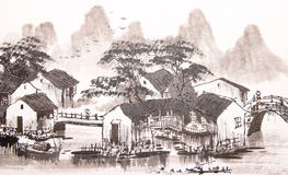 Chinese drawing water town Stock Photography
