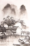 Chinese drawing water town Stock Photo