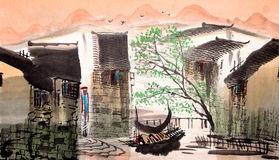 Chinese drawing water town stock illustration