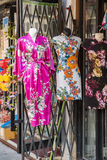 Chinese dresses. Colorful Chinese dresses for sale on the street royalty free stock images