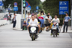 Chinese driving through a walkway Stock Image