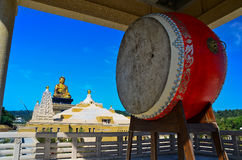 Chinese drum and Buddhist temple Stock Images