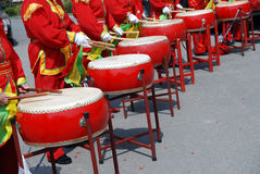 Chinese drums. Many people are beating Chinese drums Stock Image